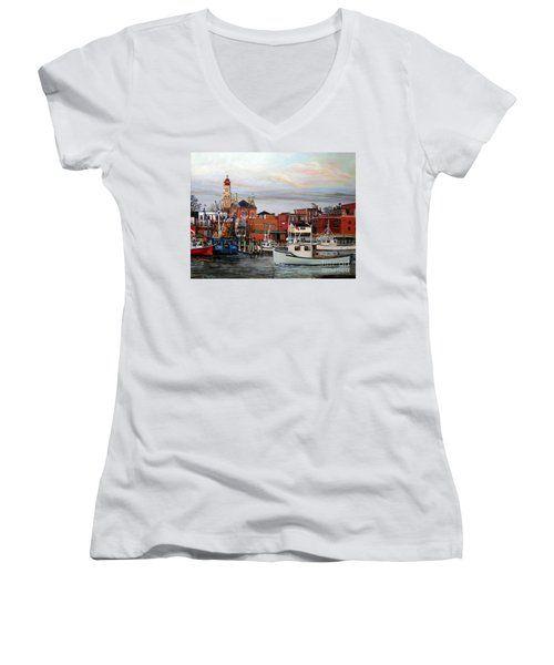 Gloucester Harbor Women's V-Neck T-Shirt (Junior Cut) by Eileen Patten Oliver