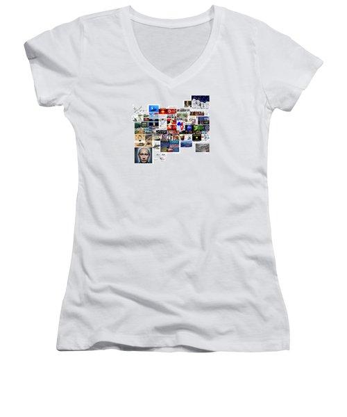 Goal Post Putin Women's V-Neck T-Shirt (Junior Cut) by Peter Hedding