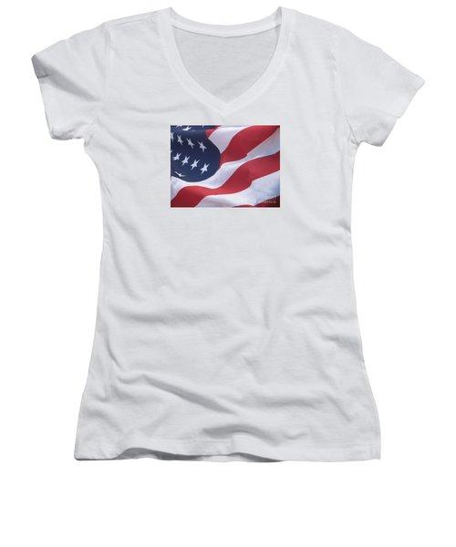 Women's V-Neck T-Shirt (Junior Cut) featuring the photograph God Bless America by Chrisann Ellis