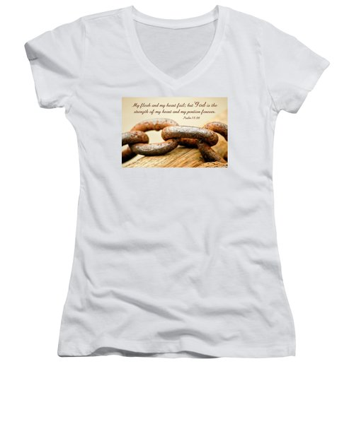 God Is My Strength Women's V-Neck (Athletic Fit)