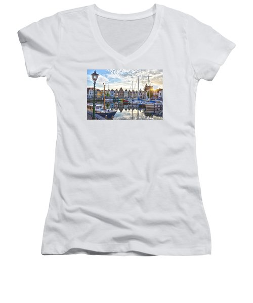 Goes Harbour Women's V-Neck T-Shirt (Junior Cut) by Frans Blok