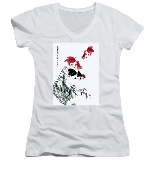 Women's V-Neck T-Shirt (Junior Cut) featuring the painting Gold Fish by Yufeng Wang