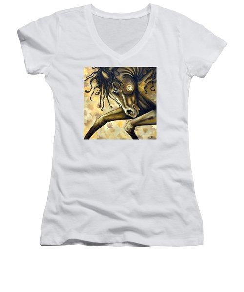 Gold Leaf Women's V-Neck T-Shirt