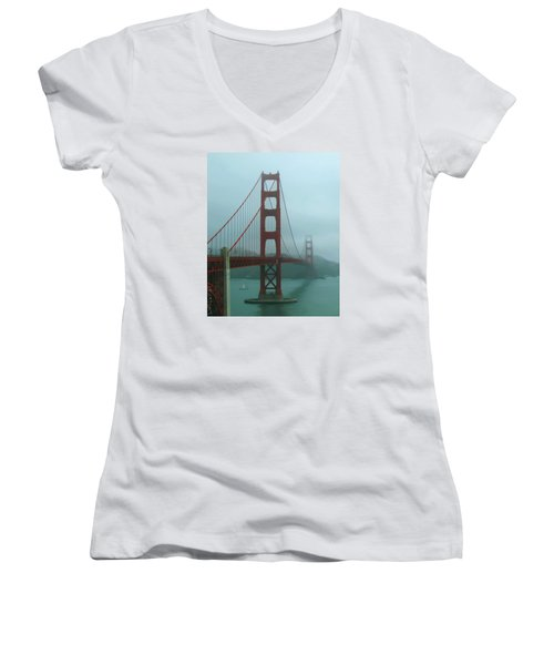 Golden Gate Bridge And Partial Arch In Color  Women's V-Neck T-Shirt (Junior Cut) by Connie Fox