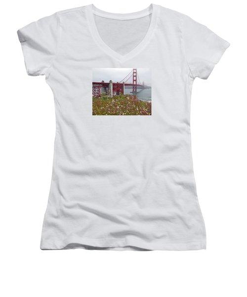 Golden Gate Bridge And Summer Flowers Women's V-Neck T-Shirt