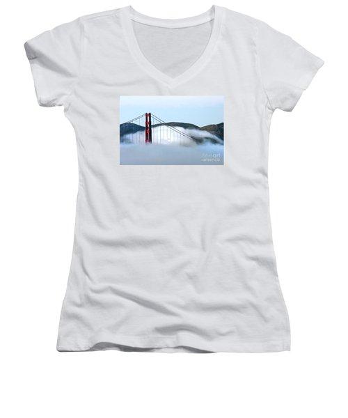 Golden Gate Bridge Clouds Women's V-Neck (Athletic Fit)