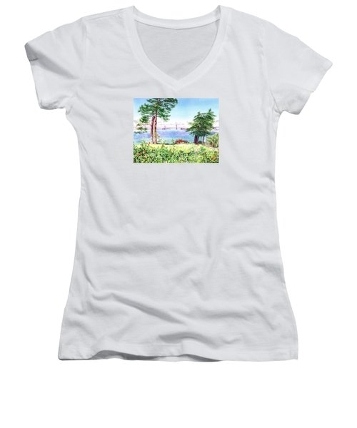 Golden Gate Bridge View From Lincoln Park San Francisco Women's V-Neck