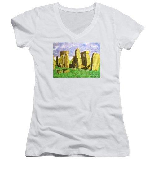 Golden Stonehenge Women's V-Neck