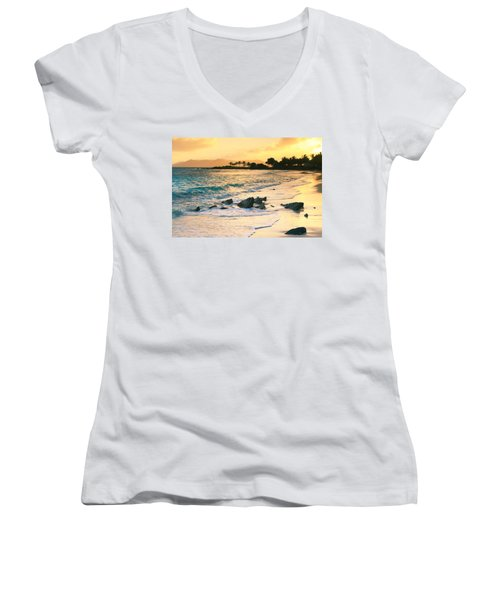 Golden Sunrise On Sapphire Beach Women's V-Neck T-Shirt (Junior Cut) by Roupen  Baker