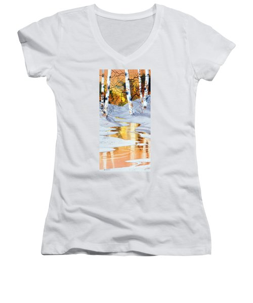 Women's V-Neck T-Shirt (Junior Cut) featuring the painting Golden Winter by Teresa Ascone