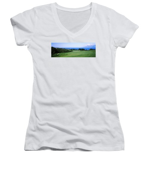 Golf Course At The Oceanside, Kapalua Women's V-Neck T-Shirt