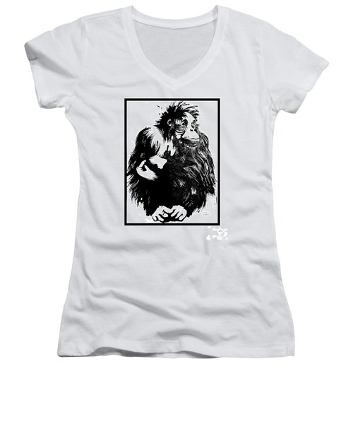 Women's V-Neck T-Shirt (Junior Cut) featuring the drawing Gorilla Ina Box by Paul Davenport