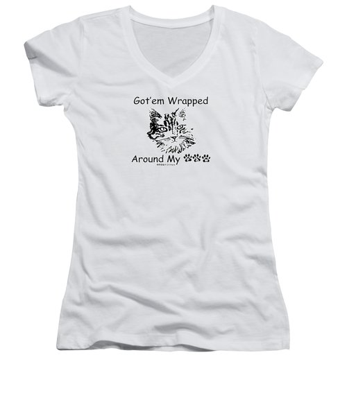 Got'em Wrapped Around My Paw Women's V-Neck T-Shirt (Junior Cut) by Robyn Stacey