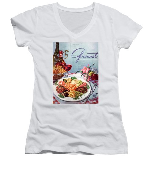 Gourmet Cover Illustration Of A Plate Of Antipasto Women's V-Neck