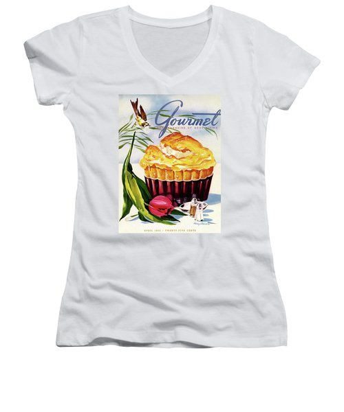 Gourmet Cover Illustration Of A Souffle And Tulip Women's V-Neck