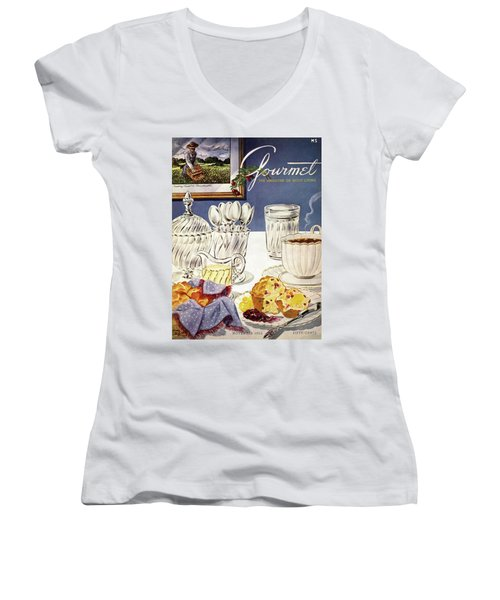 Gourmet Cover Illustration Of Cranberry Muffins Women's V-Neck