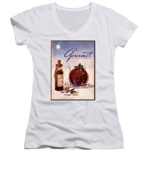 Gourmet Cover Illustration Of Flaming Chocolate Women's V-Neck
