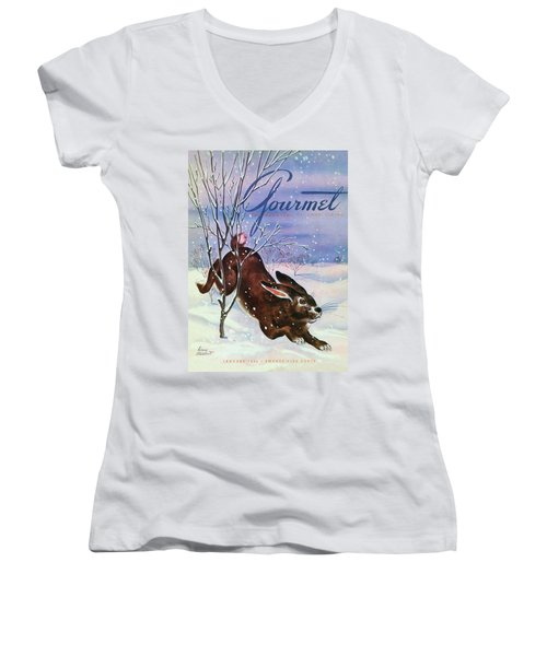 Gourmet Cover Of A Rabbit On Snow Women's V-Neck