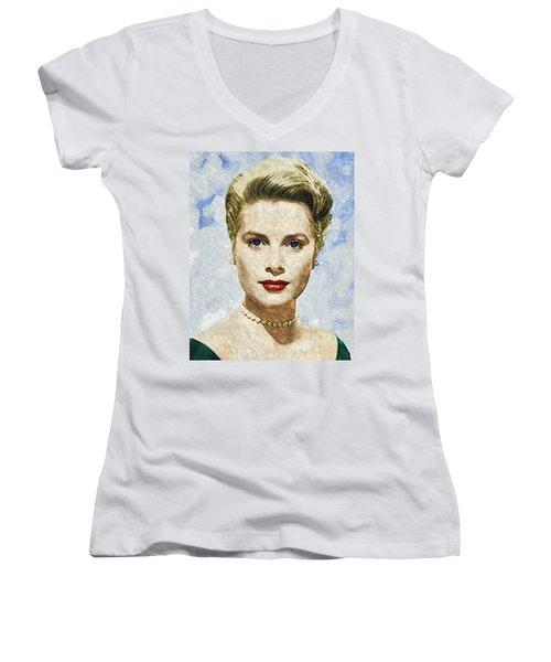 Grace Kelly Women's V-Neck T-Shirt (Junior Cut) by Taylan Apukovska