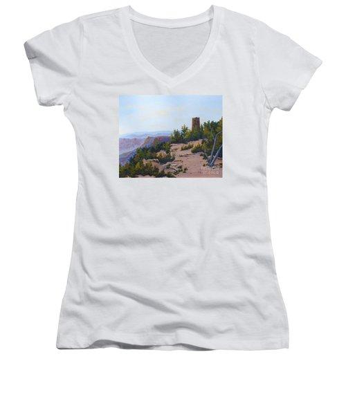 Grand Canyon Watchtower Women's V-Neck T-Shirt
