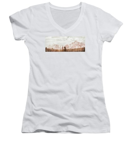 Women's V-Neck T-Shirt (Junior Cut) featuring the painting Grand Teton Mountains by Greg Collins