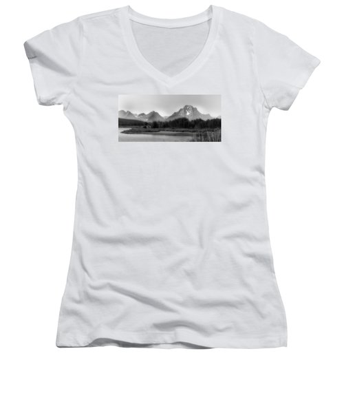 Women's V-Neck T-Shirt (Junior Cut) featuring the photograph Grand Tetons Bw by Ron White
