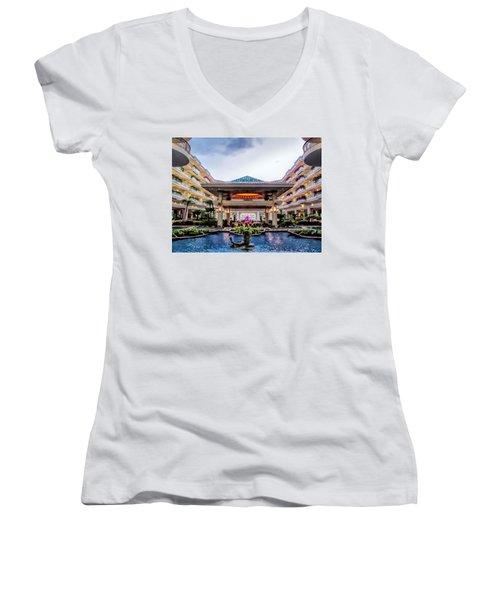 Women's V-Neck T-Shirt (Junior Cut) featuring the photograph Grand Wailea 74 by Dawn Eshelman