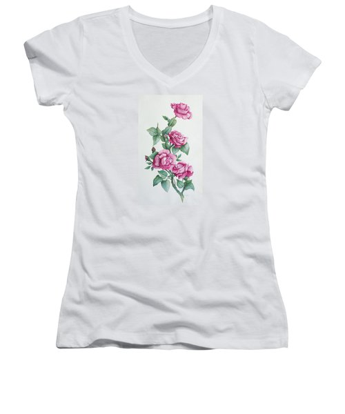 Women's V-Neck T-Shirt (Junior Cut) featuring the painting Grandma Helen's Roses by Katherine Young-Beck