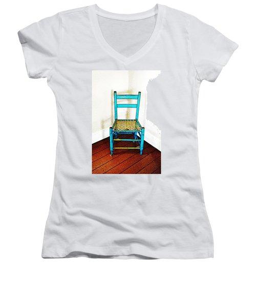 Granular Blue Women's V-Neck T-Shirt (Junior Cut) by Holly Blunkall