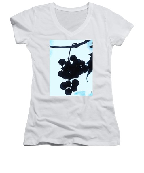 Women's V-Neck T-Shirt (Junior Cut) featuring the drawing Grapes by D Hackett