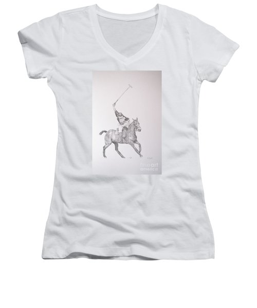 Graphite Drawing - Shooting For The Polo Goal Women's V-Neck (Athletic Fit)
