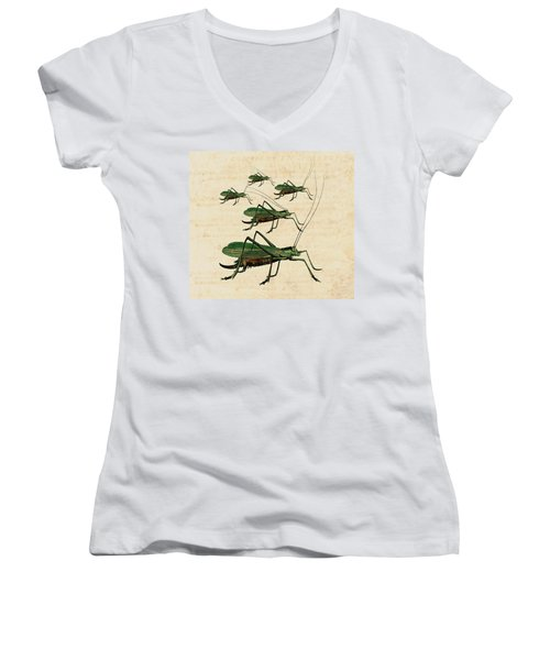 Grasshopper Parade Women's V-Neck T-Shirt