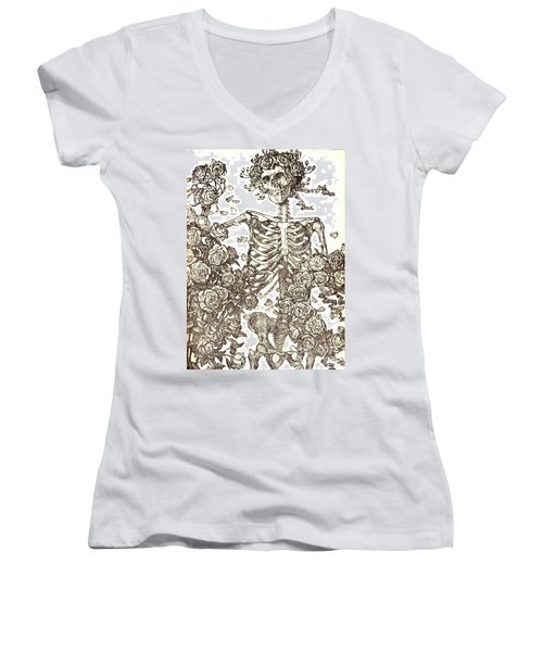 Gratefully Dead Skeleton Women's V-Neck T-Shirt (Junior Cut) by Kelly Awad