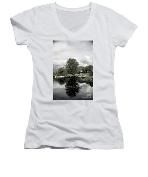 Grays Mill Pond Women's V-Neck T-Shirt (Junior Cut) by Angela DeFrias