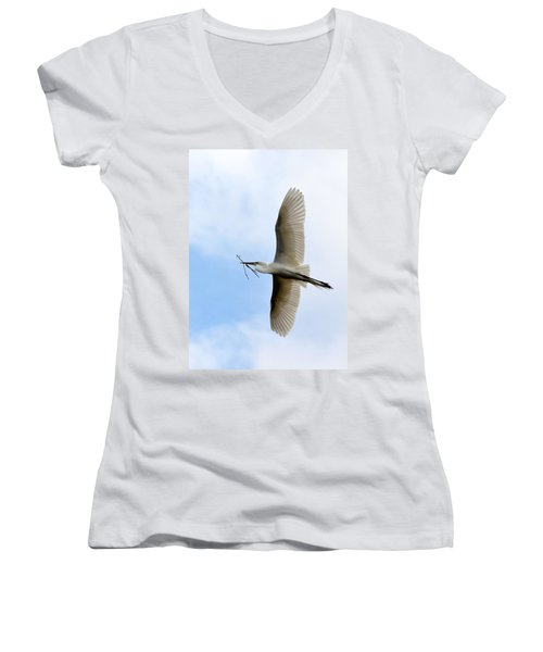 Great Egret In Flight Women's V-Neck T-Shirt (Junior Cut) by Richard Bryce and Family