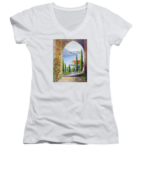 Women's V-Neck T-Shirt (Junior Cut) featuring the painting Greek Arch Vista by Lou Ann Bagnall
