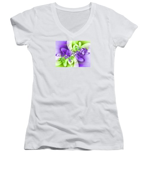 Green And Purple Women's V-Neck T-Shirt