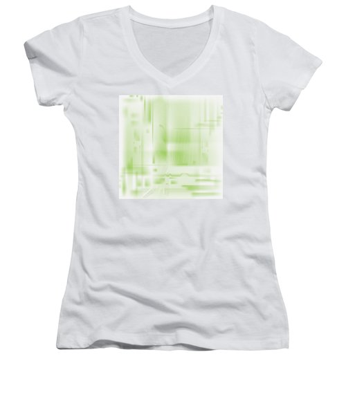 Green Ghost City Women's V-Neck T-Shirt