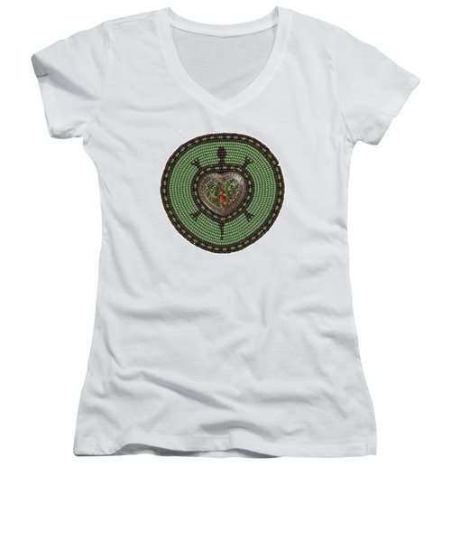 Green Heart Turtle Women's V-Neck