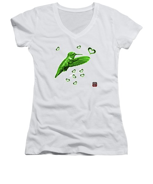 Green Hummingbird - 2055 F S M Women's V-Neck