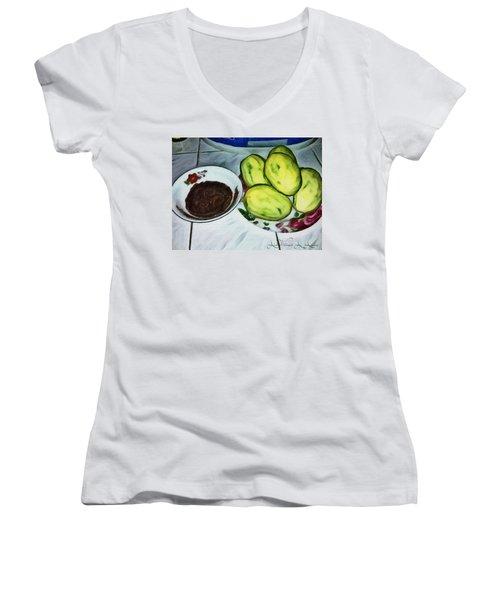 Green Mangoes Women's V-Neck T-Shirt