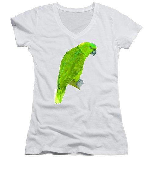 Green Parrot Women's V-Neck