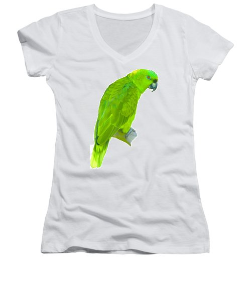 Green Parrot Women's V-Neck T-Shirt