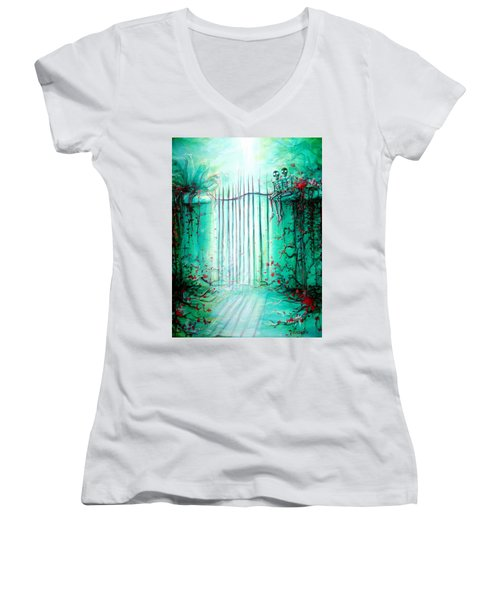 Green Skeleton Gate Women's V-Neck T-Shirt (Junior Cut) by Heather Calderon