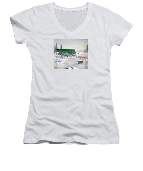Green Wagon Women's V-Neck T-Shirt