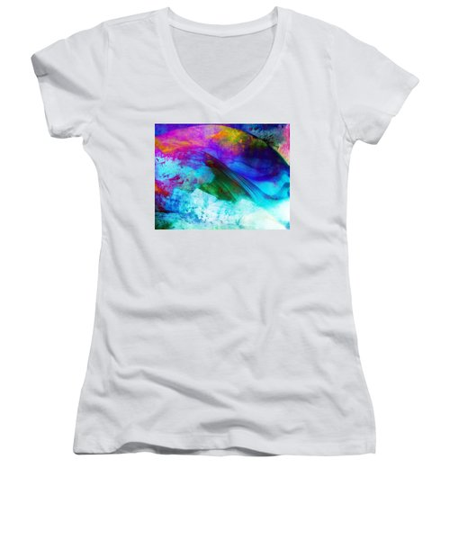 Women's V-Neck T-Shirt (Junior Cut) featuring the painting Green Wave - Vibrant Artwork by Lilia D