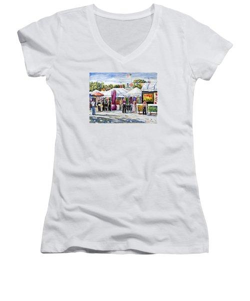 Greenwich Art Fair Women's V-Neck T-Shirt (Junior Cut) by Alexandra Maria Ethlyn Cheshire