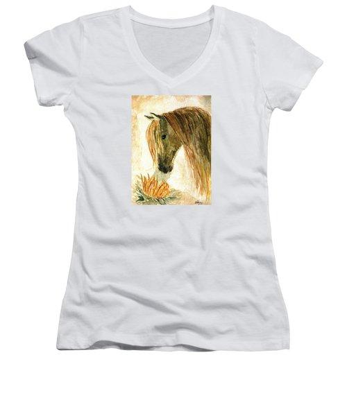 Greeting A Sunflower Women's V-Neck T-Shirt (Junior Cut) by Angela Davies