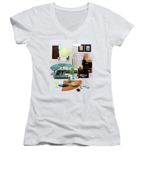 Group Of Furniture And Decorations In 1960 Colors Women's V-Neck