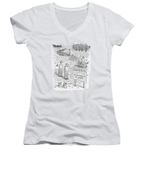 Groups Of Construction Workers Paralyzed Women's V-Neck